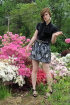 black Express blouse - Deb Shop skirt - black Old Navy belt - black Charlotte Ru
