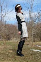Old Navy dress - gray J Crew cardigan - gray wal-mart tights - black Guess boots