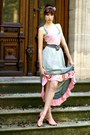 Silver-vintage-skirt-light-pink-unknown-top-salmon-h-m-sandals