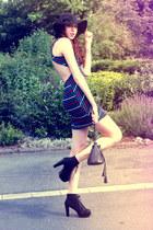 black H&M hat - blue threadsence dress - black studded bag - black heels