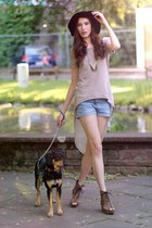 nude long Vero Moda shirt - black summer H&M hat - sky blue studded DIY shorts