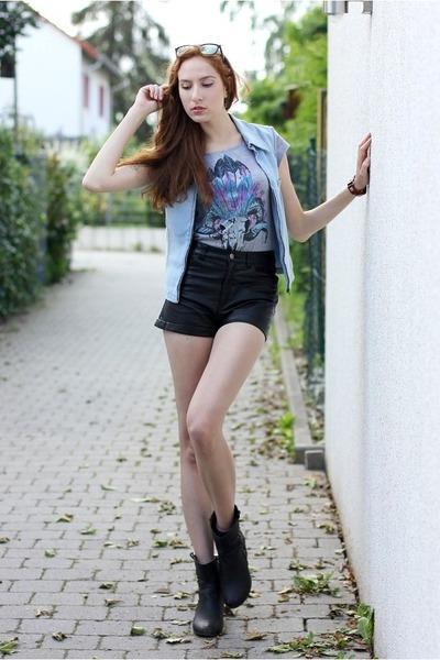 sky blue denim thrifted vest - black studded boots