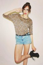 black suede boots - tawny animal print shirt - sky blue studded shorts