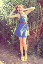 blue simple H&M dress - tawny H&M bag - yellow suede H&M sneakers