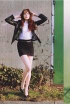 black fake leather jacket - white blouse