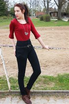 black high-waisted pants - ruby red shirt - silver necklace - brown suede flats