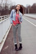 white striped H&M pants - black punk H&M pants - black winter boots