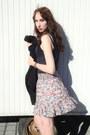 Black-unknown-cardigan-periwinkle-flower-print-new-yorker-dress