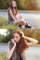 brown faux fur vest - black studded shoes - black cowboy boots - blue diy shorts