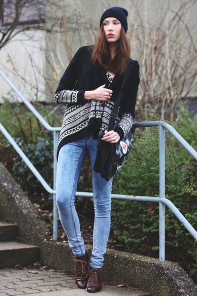 gray print cardigan - black maxi cardigan - light blue denim Primark jeans