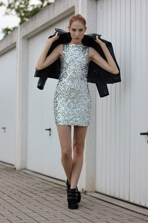 black velvet Primark boots - silver sequin dressv dress