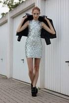 black velvet Primark boots - silver sequin dressv dress