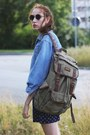 Sky-blue-denim-second-hand-jacket-olive-green-backpack-estarer-bag