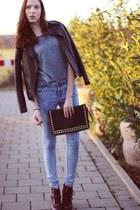 maroon doc martens Primark boots - blue skinny Primark jeans