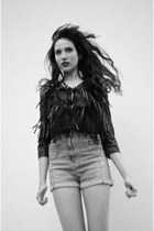 black fringed vintage jacket - sky blue high-waisted vintage shorts