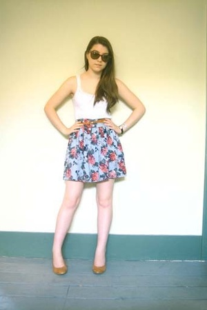vintage top - Urban Outfitters skirt - Office shoes - vintage belt