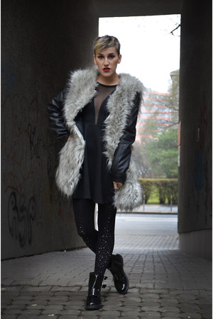 silver fake fur reserved jacket - black H&M boots - black Tally Weijl dress