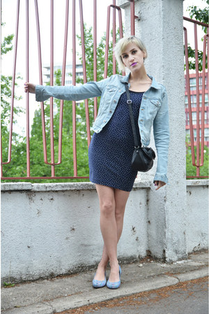 navy H&M dress - light blue H&M jacket - sky blue Melissa  Liberty flats
