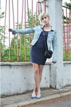 navy H&M dress - light blue H&M jacket - sky blue Melissa  Liberty flats