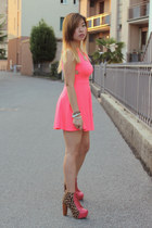 hot pink Jeffrey Campbell boots - hot pink lulus dress