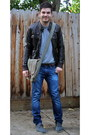 Charcoal-gray-toms-shoes-blue-levis-jeans-dark-brown-h-m-jacket