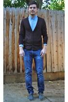 blue Levis jeans - charcoal gray Toms shoes - sky blue Heritage 1981 shirt