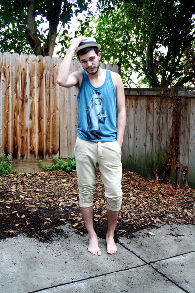 teal top - beige straw Urban Outfitters hat - camel Zara men pants