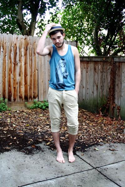 teal top - beige straw Urban Outfitters hat - camel Zara men pants