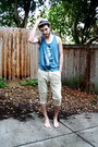 Beige-straw-urban-outfitters-hat-camel-zara-men-pants-teal-top