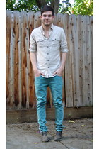 light brown Clarks shoes - turquoise blue Levis jeans - tan Club Monaco shirt