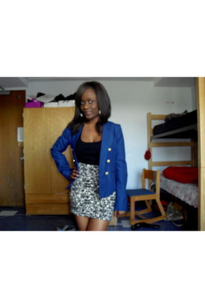 blue H&M blazer - black Forever 21 top - white Forever 21 skirt