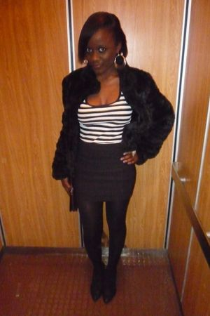 white Forever 21 shirt - black H&M skirt - black Forever 21 tights - black Zara