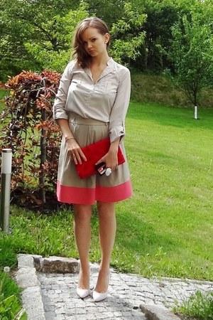 beige Top Secret skirt - red H&M purse - neutral Vero Moda blouse