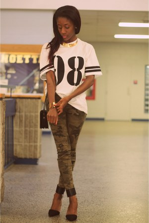 camo Zara jeans - number tee Forever 21 shirt - pointed toe Zara heels