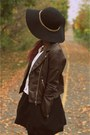 Faux-leather-h-m-jacket-little-black-zara-dress-wide-brim-forever-21-hat
