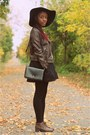 Little-black-zara-dress-wide-brim-forever-21-hat-faux-leather-h-m-jacket