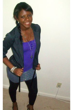 purple Forever 21 top - gray Forever 21 dress - gray New York and Company blazer