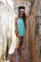 lace Forever 21 shorts - turquoise Valija Gitana dress - orange kate spade bag
