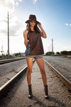 Steve Madden boots - cotton on hat - Nasty Gal shirt - Love Culture shorts