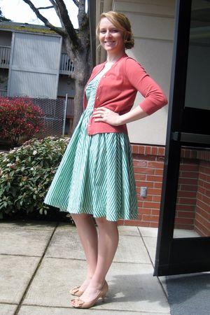 pink JCrew sweater - green H&M dress - beige Anthropologie shoes - gold Nordstro