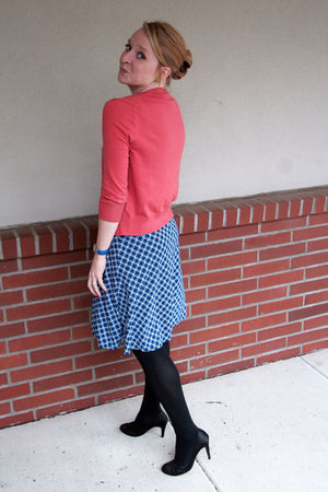 pink JCrew sweater - blue Express dress - black JCrew tights - black Forever 21