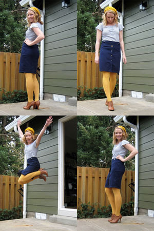 gold Forever 21 hat - gold HUE tights - blue Anthropologie skirt - brown Forever