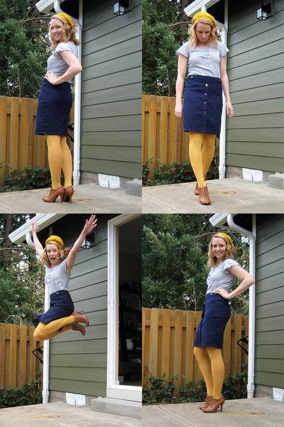 gold Forever 21 hat - gold HUE tights - blue Anthropologie skirt - brown Forever