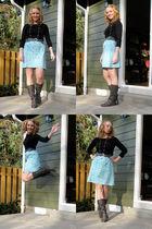 black JCrew shirt - blue Krameymartin skirt - gray Dolce Vita boots - gray Targe