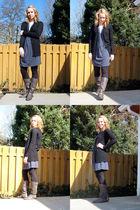 black Halogen sweater - blue JCrew dress - black Anthropologie leggings - gray D