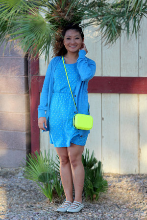 blue Mossimo cardigan - Mossimo dress - Natasha Couture bag
