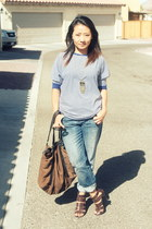 boyfriend jeans Lauren Conrad jeans - blue and white Zara shirt