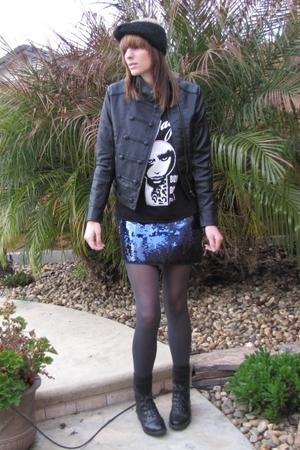 black shirt - black Forever 21 jacket - blue Express skirt - black Forever 21 ac