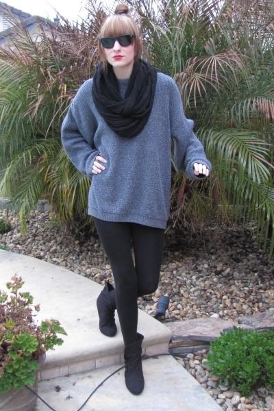 Gray Thrifted Sweaters Black Forever 21 Leggings Black Forever 21