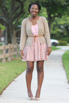 floral Old Navy skirt - cami Express blouse - beige H&M cardigan